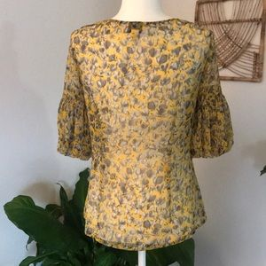 LOFT Tops - LOFT sheer floral 3/4 sleeve with ruffle blouse